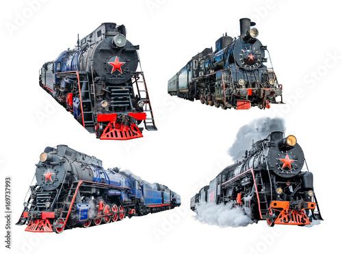 Obraz na płótnie Set of isolated train locomotives railway on white background