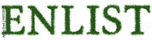 Photo  Enlist - 3D rendering fresh Grass letters isolated on whhite background