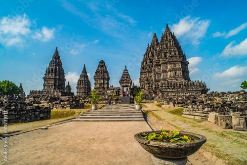 Foto op Plexiglas Indonesië Prambanan or Candi Rara Jonggrang is a Hindu temple compound in Java, Indonesia, dedicated to the Trimurti: the Creator (Brahma), the Preserver (Vishnu) and the Destroyer (Shiva)