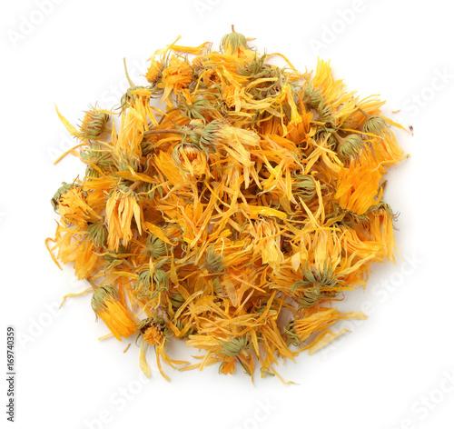 Obraz Top view of dried calendula flowers - fototapety do salonu