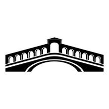 Rialto Bridge Icon, Simple Black Style