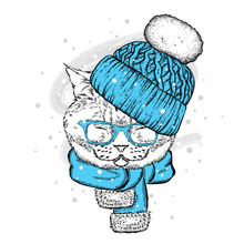 A Funny Cat In A Knitted Hat A...