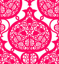 Seamless Pattern With Pomegran...
