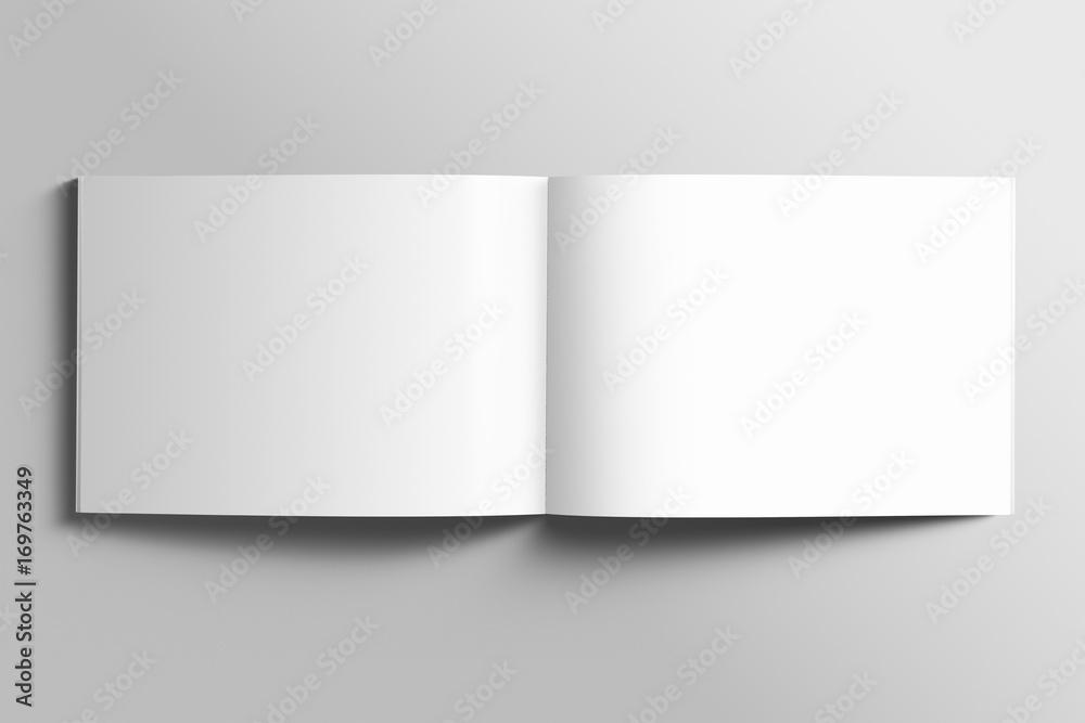 Fototapety, obrazy: Blank A4 photorealistic landscape brochure mockup on light grey background.