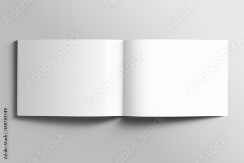 Poster Blanc Blank A4 photorealistic landscape brochure mockup on light grey background.