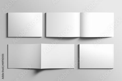 Fotobehang Wit Blank A4 photorealistic landscape brochure mockup on light grey background.