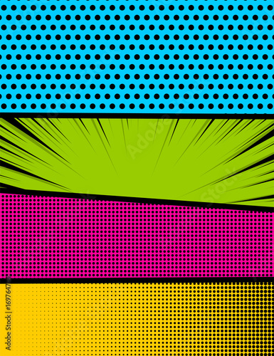 vector halftone illustration blank rectangle for comic superhero