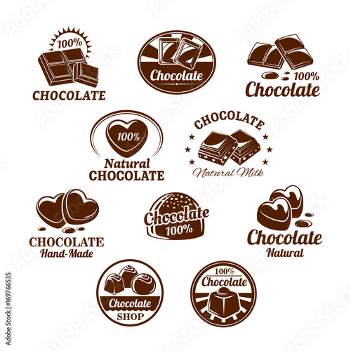 Cuadros en Lienzo Vector icons set for chocolate desserts