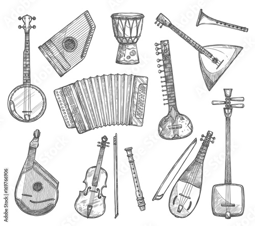 Photo Vector sketch icons of musical instruments