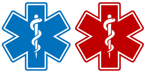 Vector illustration of a medical star symbol in two color variations: blue and red.