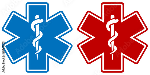 Fotografía  Vector illustration of a medical star symbol in two color variations: blue and red