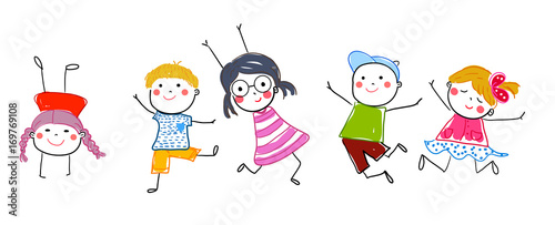 Obraz Group of jumping children - fototapety do salonu