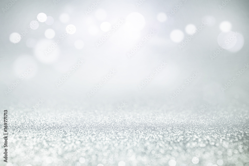 Fototapety, obrazy: blue and silver glitter lights bokeh abstract background holiday. defocused.