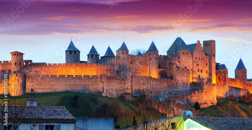 Lieu d Europe Castle at Carcassonne in twilight. France