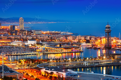 Foto op Canvas Barcelona Port and cityspace of Barcelona in evening. Spain