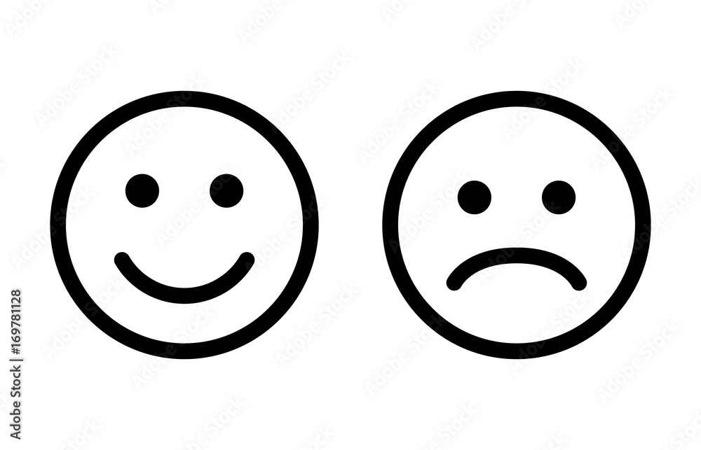 Fototapeta Happy and sad emoji smiley faces line art vector icon for apps and websites