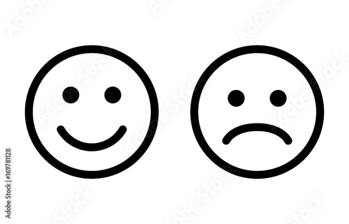 Fotografie, Obraz  Happy and sad emoji smiley faces line art vector icon for apps and websites