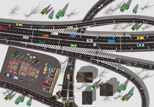 Large High-speed Interchange Of The Highway With A Store And A Crossroads Top View Winter White Snow