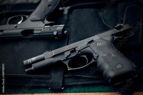 The gun and gun Short black pistol Wallpaper Mural