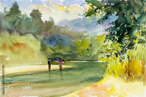 Fotobehang Zwavel geel Watercolor landscape original painting colorful of mountain river