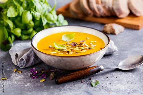 Fototapeta Pumpkin soup in a bowl obraz