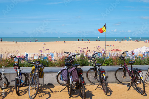 Bicycles on the beach belgium.  at the beach