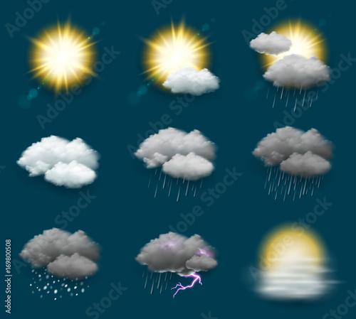 Obraz Pictogrammes météo vectoriels 3 - fototapety do salonu