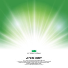 Sunlight Effect Sparkle On Green Background With Copy Space. Abstract Vector