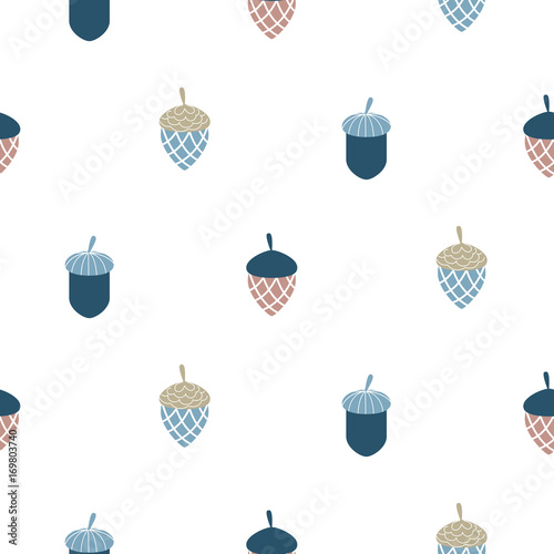 Blue scandi acorn simple seamless vector pattern. White, pale and blue leaves pattern background.