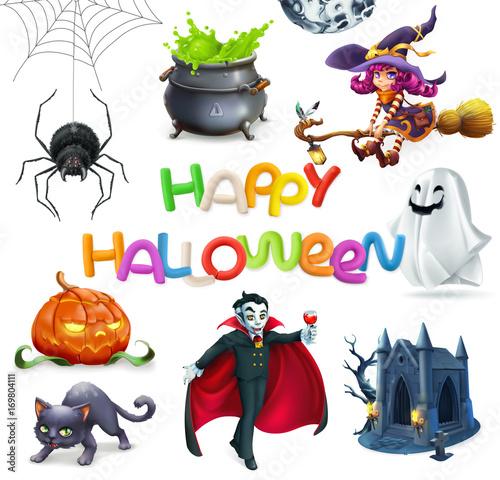Foto op Canvas Schepselen Happy Halloween. Pumpkin, spider, cat, witch, vampire, crypt and lettering, 3d vector icon set