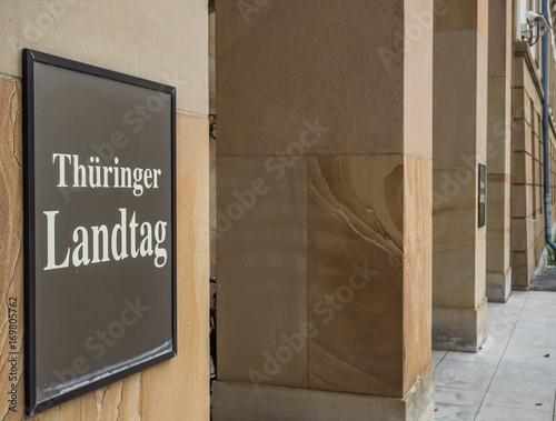 Obraz na plátně Thüringer Landtag Schild