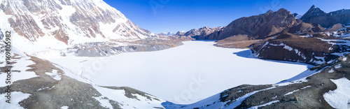 Wall Murals Nepal Tilicho Lake Snow Covered Aerial View Himalayas