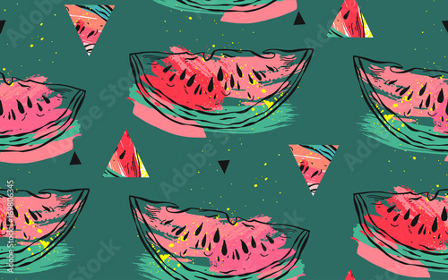 Cotton fabric Hand drawn vector abstract collage seamless pattern with watermelon motif,triangle hipster shapes and artistic freehand textures isolated on green background