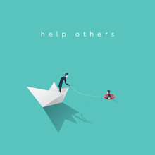 Business Help Vector Concept. Bankruptcy, Government Bailout Symbol With Businessman On Paper Boat And Drowning Man In Life Preserver.