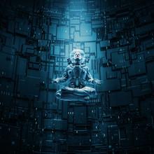 Meditating Astronaut Concept / 3D Illustration Of Astronaut In Lotus Pose Under Beam Of Light