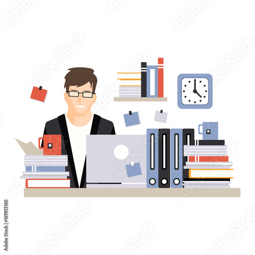 Young busy businessman character sitting at the computer