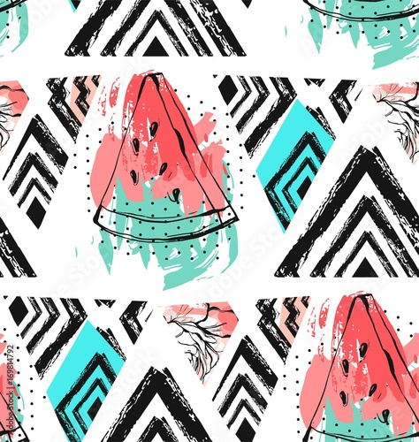 Cotton fabric Hand drawn vector abstract unusual summer time decoration collage seamless pattern with watermelon,aztec and tropical palm leaves motif isolated.