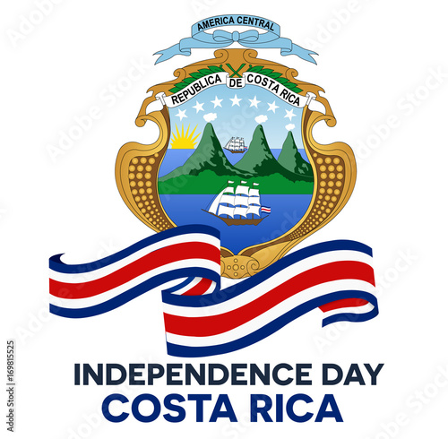 Costa Rica Independence Day Abstract Background Design Coupon Banner