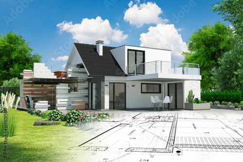 Projet de construction avec extension et plan Canvas Print