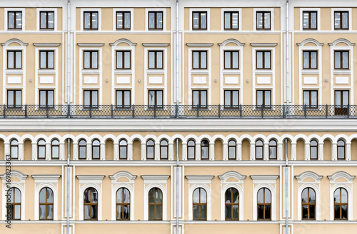 The facade of the building in the classical style.