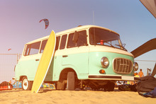 Beach Surf Van With Board On T...