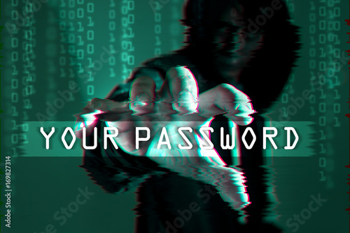 The abstract image of hacker open the palm of the hand for hold the