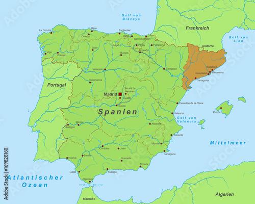 Spanien Katalonien Karte.Spanien Katalonien Landkarte In Grün Kaufen Sie Diese