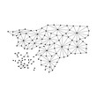 Guinea Bissau map of polygonal mosaic lines network, rays and dots vector illustration.
