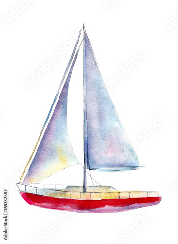 Fotografia  Watercolor illustration, hand drawn sailboat isolated object on white background