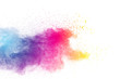 abstract color powder explosion on white background.abstract Freeze motion of color powder exploding.