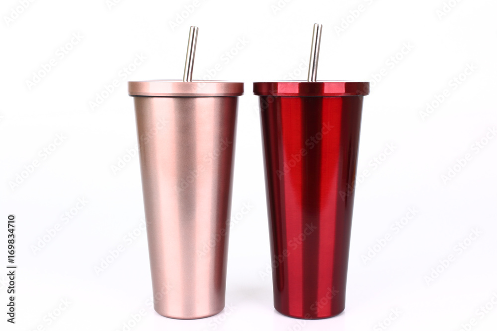 Fototapeta Stainless steel and tumbler cup isolated on white background
