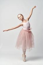 Girl Ballerina Is Dancing