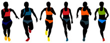 Set Athletics Woman Runners Running Colored Silhouettes