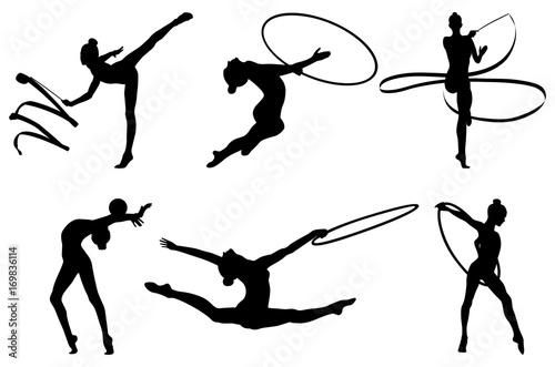 Valokuva  set rhythmic gymnastics silhouette. vector illustration